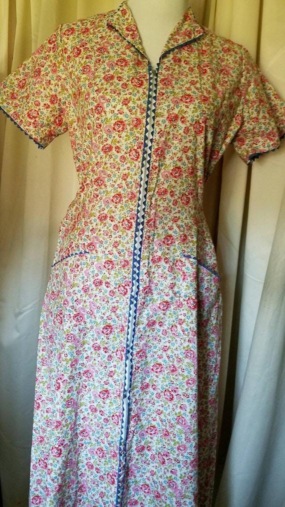 Vintage Floral House Dress (L)
