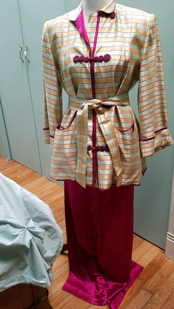 Vintage Silk Satin Lounge Jacket and Pants (M)