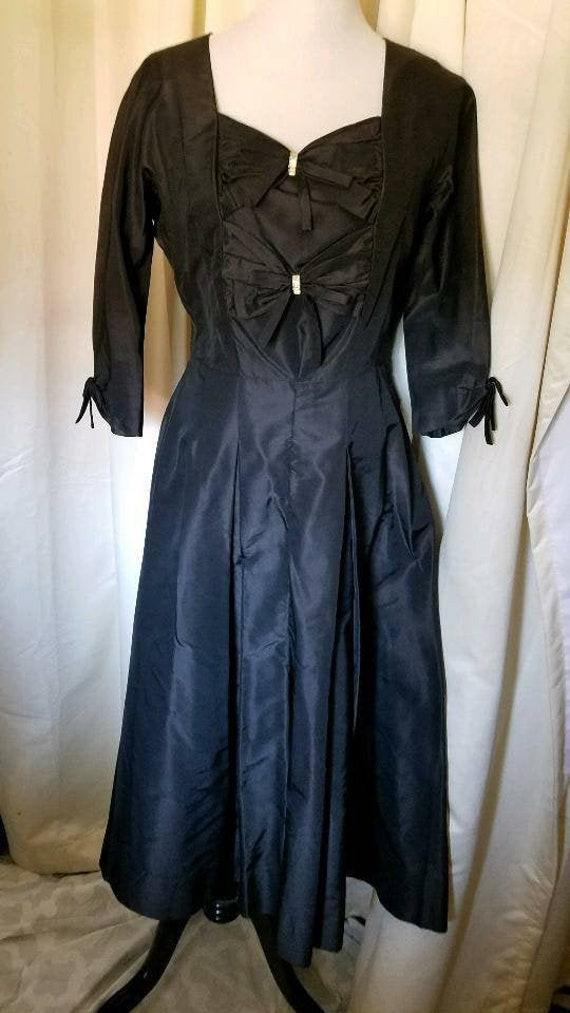 Vintage Black Taffeta Dress (L)