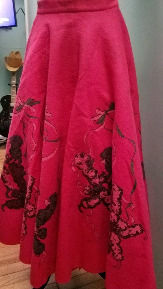 Retro Reproduction Hot Pink Felt Poodle Skirt (XS)