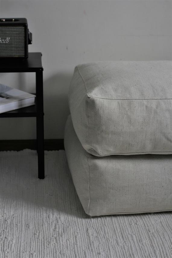 Carré de sol coussin blanc ivoire pouf ottoman sol coussin | Etsy