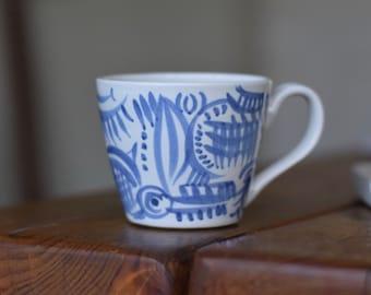 Ceramic Mug-  Blue 'Barcelona'