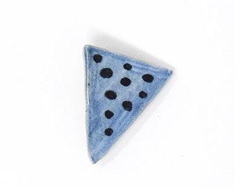 Ceramic Brooch Pin-  Blue Triangle