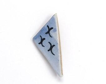 Ceramic Brooch - Blue Triangle