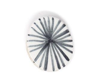 Ceramic Brooch Pin - Monochrome Circle