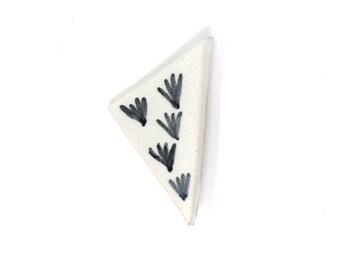 Ceramic Brooch- Monochrome Triangle