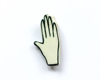 Ceramic Hand Brooch