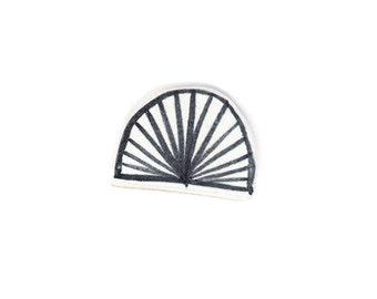 Ceramic Brooch - Monochrome Semi-Circle