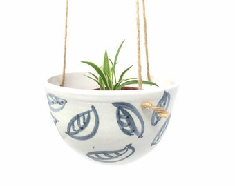 Small Ceramic Planter - 'Charcoal Leaf' Pattern