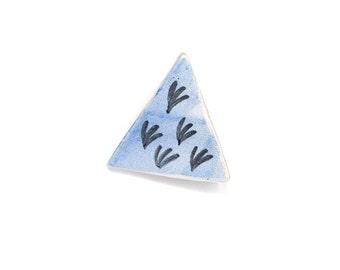 Ceramic Brooch- Blue Triangle