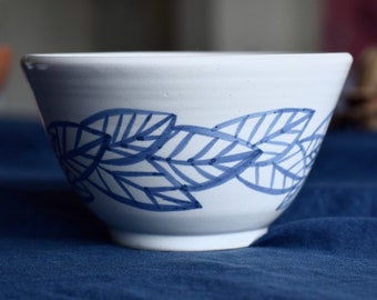 Tall Ceramic Bowl, Blue and White, Leaf Pattern