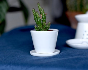 Ceramic Plant Pot with Plate - Simple White