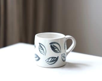 Ceramic Espresso Cup - 'Charcoal Leaf'