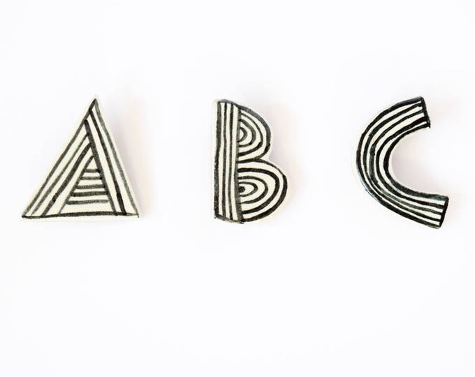 Featured listing image: Ceramic Letter Brooch Pin, Choose Your Initial, Handmade, Handpainted, Gift, Personalised Black and White, Monochrome and Stripey