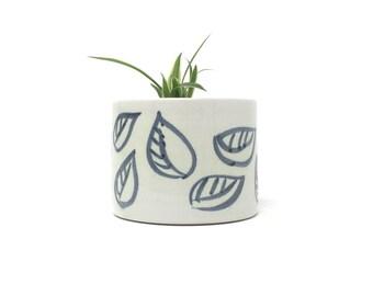 Small Ceramic Planter - 'Charcoal Leaf' Range