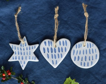 Set of Three Ceramic Decorations -  Heart, Circle + Star  with 'Lacuna' Pattern