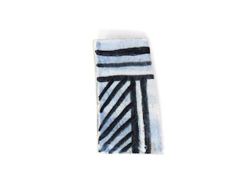 Ceramic Brooch Pin - Blue Rectangle