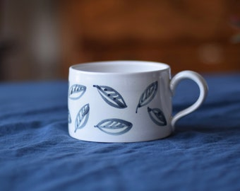 Large Ceramic Mug - 'Charcoal  Leaf'