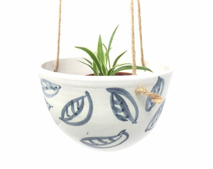 Featured listing image: Small Ceramic Planter - 'Charcoal Leaf'