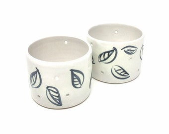Set of Two Tealight Holders - 'Charcoal Leaf' Pattern