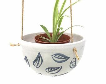 Ceramic Hanging Planter - 'Charcoal Leaf' Pattern
