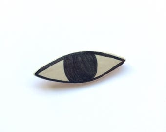 Ceramic Eye Brooch Pin, Handmade, Black and White