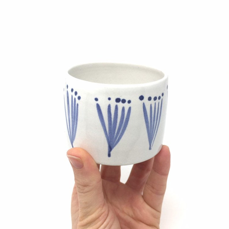 Indoor Plant Pot Ceramic Planter Blue and White Pattern Small
