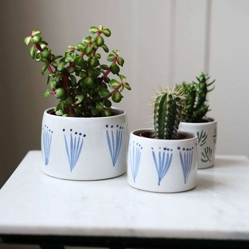 Ceramic Planter Small Indoor Plant Pot Blue and White Pattern