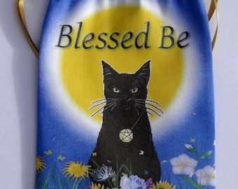 Litha, Summer Solstice Black Cat Tarot Card Bag, Ideal for most Angel, Fairy Or Wicca Cards