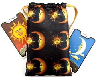 Satin Celestial Sun & Moon Design Tarot Card Bag, Lined, Ideal for most Angel, Fairy Or Wicca Cards, Halloween, Gift, Fairy Tale, spell bag