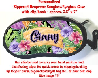 Floral Rose Case Personalized Custom Floral Sunglass Carrying Case Personalized Gift FLORAL1