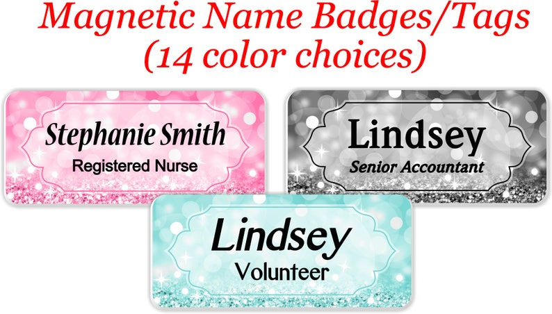 Magnetic Name Tag, Name Badge, Personalized Custom ID Tag - BOKEHBLING2
