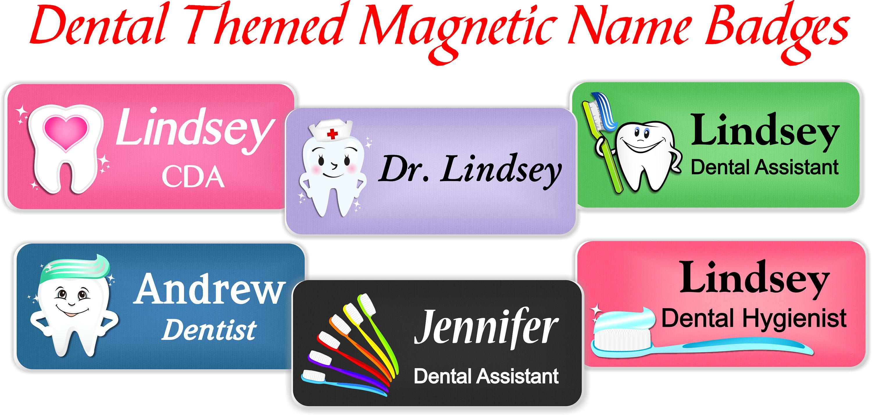 Name Badge: Magnetic Name Badge Dentristry Name Tag Dental Office