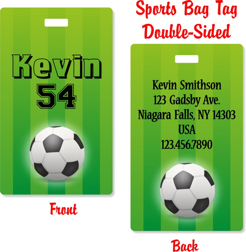 7396f7094410 Personalized Soccer Sports Bag Tag Duffle Bag Tag Gift Idea | Etsy