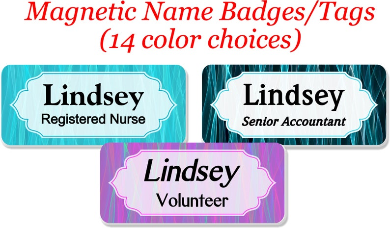 Magnetic Name Tag, Name Badge, Personalized Custom ID Tag - ABSTRACTSET11