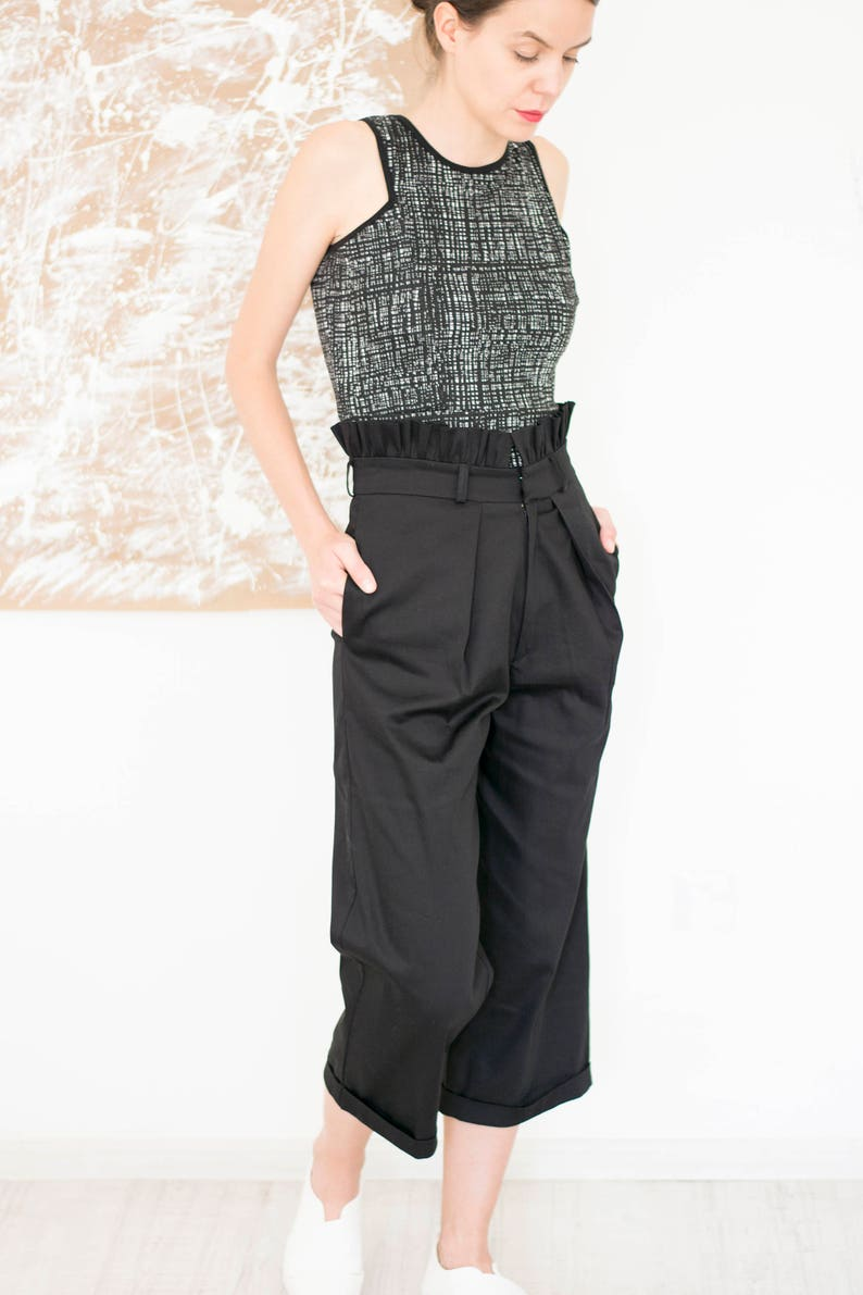 8530e1292f58 Black Cropped Palazzo PantsWide Leg Pants Plus SizeWide Leg