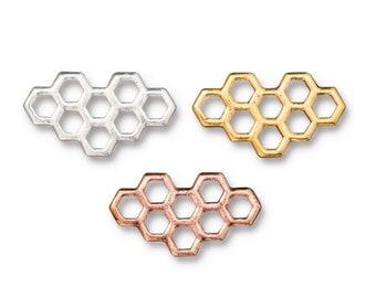 19mm Honey Comb Beads 1861-6 Aqua Copper Honeycomb Beads 19mm Czech Glass Aqua with Copper Honeycomb Beads 1861S