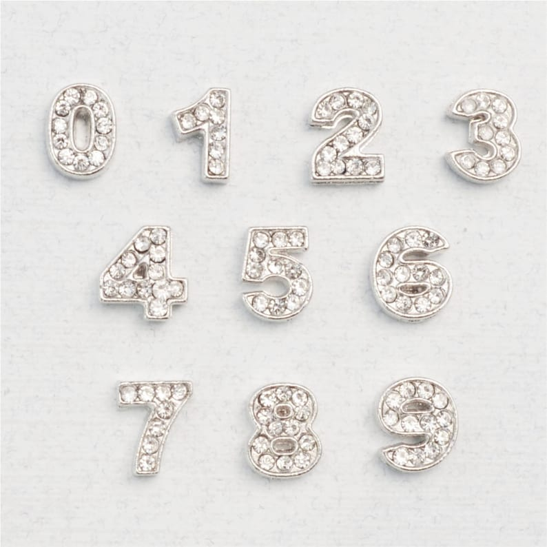 Crystal Number Charm for Floating Locket, Wholesale Locket Number Charms,  Bulk Number Charms, USA Seller (P912)