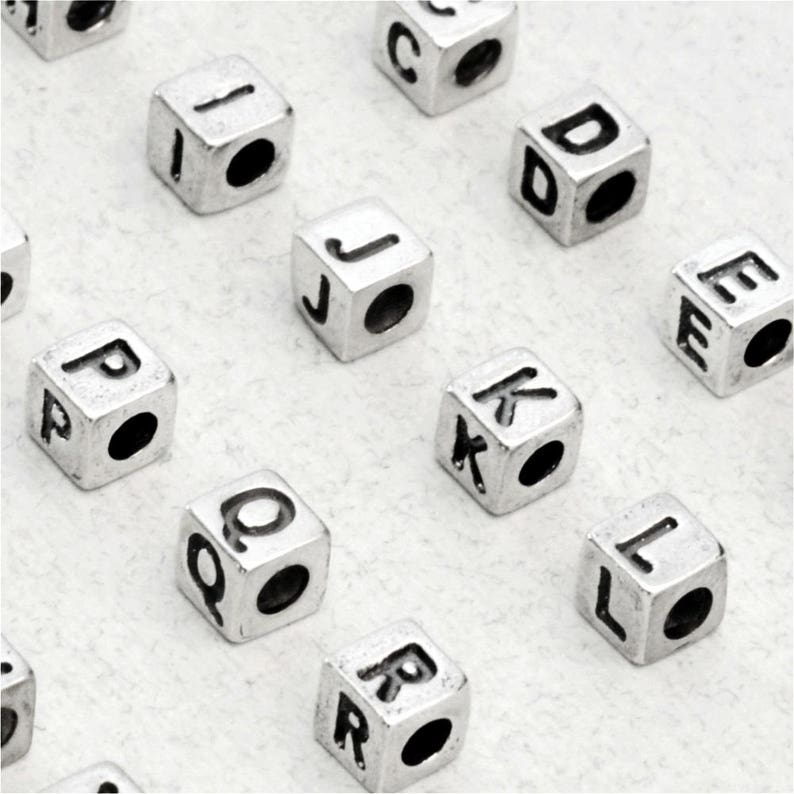 Small Sterling Silver Letter Cube Beads 3.8 x 3.9mm 925 image 0