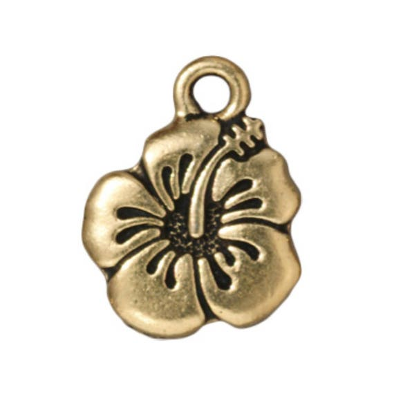 CB Hibiscus Flower Image Silver Plated Charm for Bracelet tea horticulture NEW