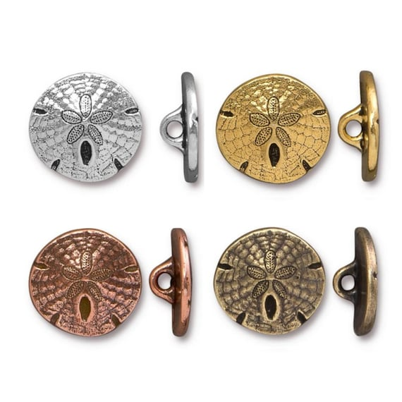 17mm Metal Shank Buttons Leather Findings TierraCast Sand Dollar Buttons Antique Fine Silver Plated Lead Free Pewter