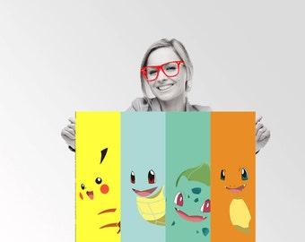 Pokemon Pikachu Bulbasaur Charmander Squirtle - Custom Geek Typography Quote  Wall Art Poster
