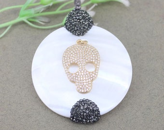 3pcs Round Shell pendant With Micro Pave CZ Skull And Rhinestone For Necklace Jewelry Making