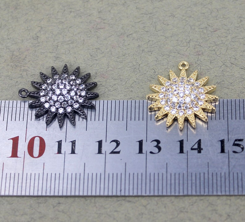 10pcs Small Size Metal Copper Micro Pave CZ Sun Flower Pendant Beads,Charm Flower For Jewelry Making