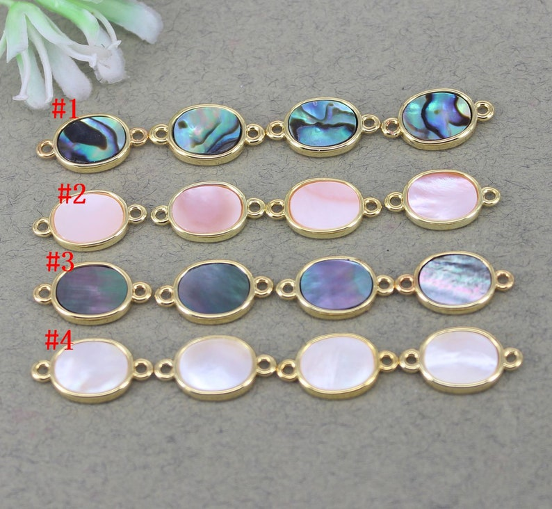 10pcs Small Size Natural Abalone Shell Gemstone Oval Connector beads,Shell Oval beads For Making Jewelry