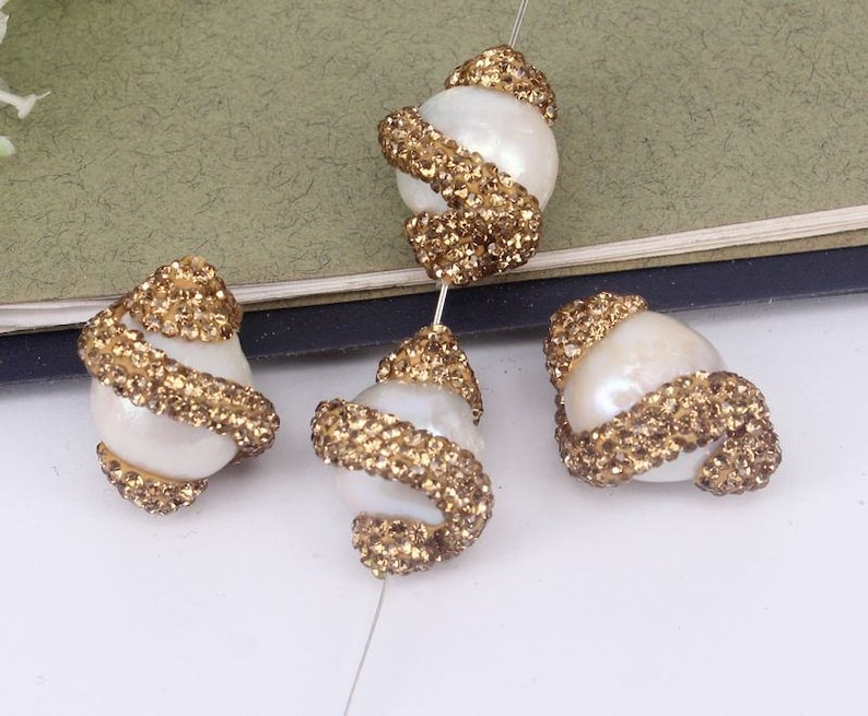 10pcs Fashion Pearl Connector Beads,With Gold Zircon Diamond Paved Beads,Charm Gemstone Connector Beads For Jewelry Making