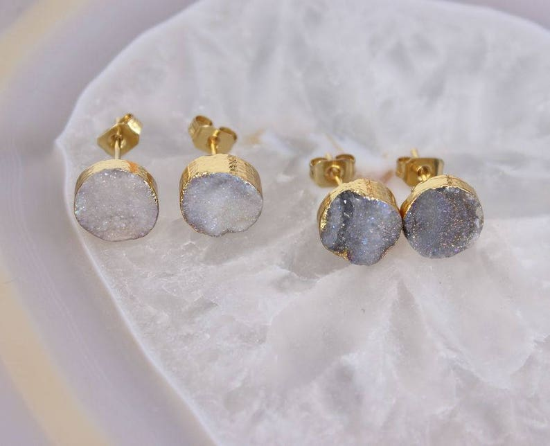5 Pairs 9mm Natural Druzy Sun Agate Stud Earrings,Fashion Druzy Gemstone Stud Earrings,Gold Plated Druzy Earrings