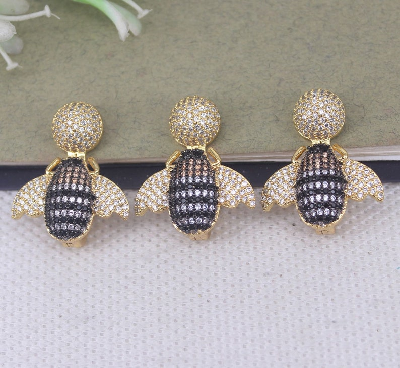 5pcs Metal Copper Micro Pave CZ Insect Bee pendant Beads,CZ Bee Clasps For Jewelry Making