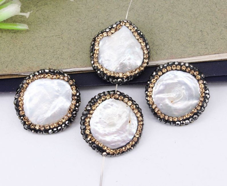 10pcs Pearl Connector Beads,Round beads,With Zircon Diamond Paved Beads,Charm Gemstone Connector Beads For Jewelry Making