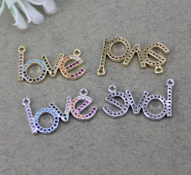 10pcs Metal Copper Micro Pave CZ LOVE Letters pendant Beads with Double Bails For Jewelry Making